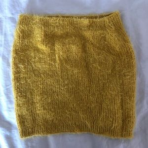 Tops - MUSTARD YELLOW FUZZY TUBE TOP